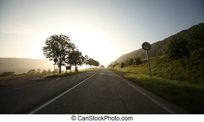 Timelapse Onboard-Camera on a rural road in Germany
