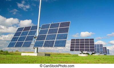 timelapse, panneaux, solaire