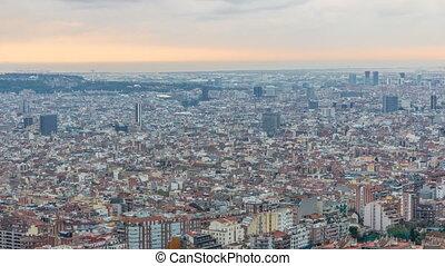 timelapse, panorama, barcelone, affiché, soutes, espagne, carmel