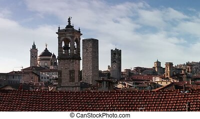 TimeLapse. Panorama of old Bergamo