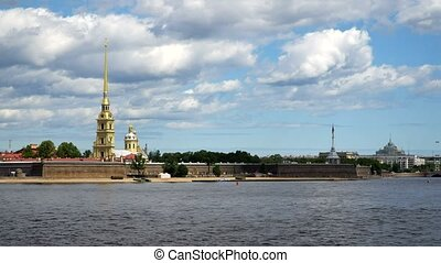 Timelapse.. Peter And Paul Fortress and panorama of Neva...