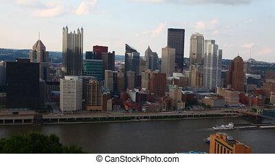 Timelapse Pittsburgh skyline across river
