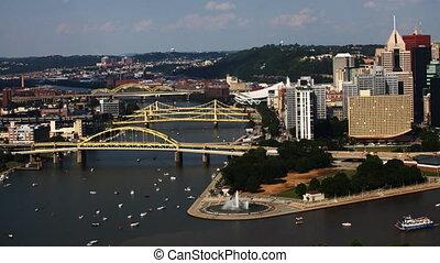 Timelapse Pittsburgh skyline between two bridges