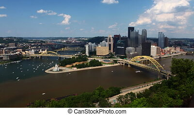 Timelapse Pittsburgh skyline between two rivers - A...