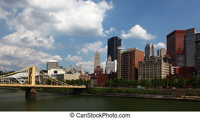 Timelapse Pittsburgh skyline on a fine day - A Timelapse...