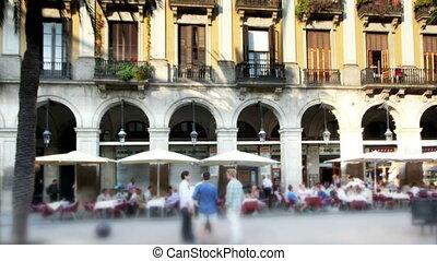 timelapse, plac, barcelona, reial, panning, hiszpania