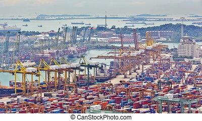timelapse, port, singapore