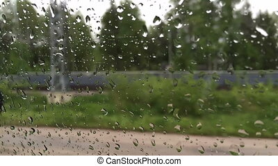 rain drops on car glass