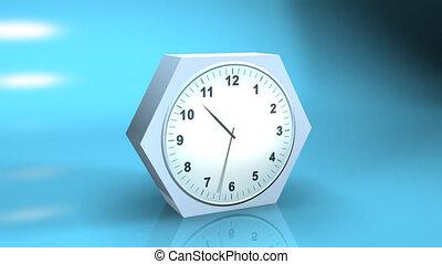 timelapse, reflectie, klok, 3d