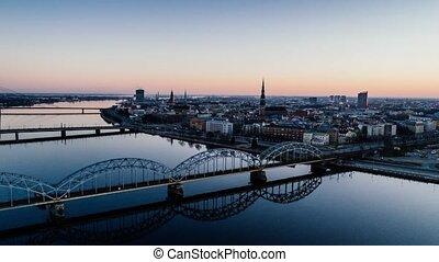 Timelapse Riga city Old Down Town Autumn Drone Flight bridges daugava river Library