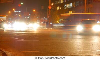 Timelapse Road Cars Night. Ukraine, Kiev 2017