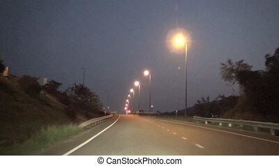 timelapse, route, conduite, nuit