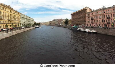 timelapse Russia St. Petersburg river channels ship ships summer
