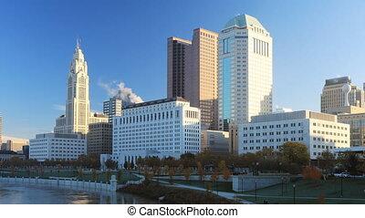 Timelapse scene of the Columbus, Ohio city center - A...