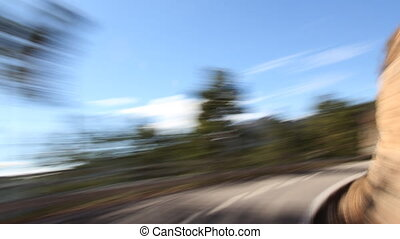 timelapse shot from a moving car with the camera clamped to...