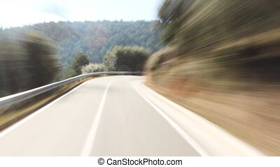 timelapse shot from a moving car with the camera clamped to the roof, pyrenees, spain
