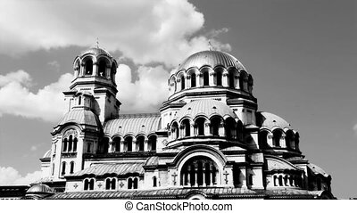 timelapse shot of Alexander Nevsky church in central sofia,...