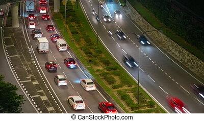 Timelapse shot of city traffic at night