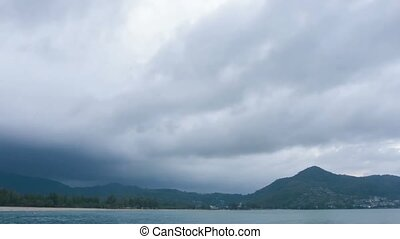 Timelapse Shot of Darkening Cloudy Sky over Tropical Beach -...