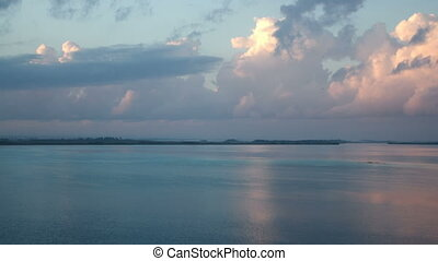 timelapse shot of the beautiful lake bacalar, with crystal clear blue water, quintana roo, mexico