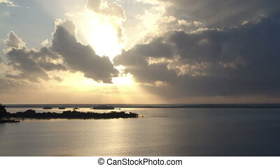 timelapse shot of the beautiful lake bacalar, with crystal...