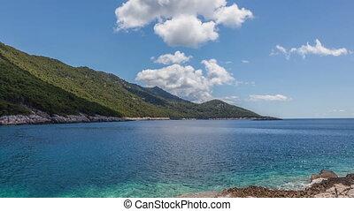 Timelapse shot of the island Mljet coast