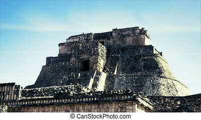 timelapse shot of the mayan ruins at uxmal, mexico. the...