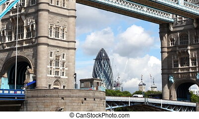 timelapse shot of tower bridge in london, on a nice summer...
