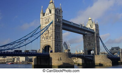 timelapse shot of tower bridge in london, on a nice sunny day, london
