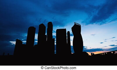 Timelapse silhouette of Skyscrapers International Business Center City on sunset in Moscow Russia