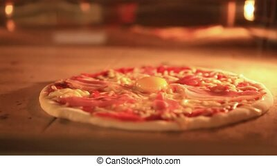 Timelapse speed up of italian pizza baking in traditional oven
