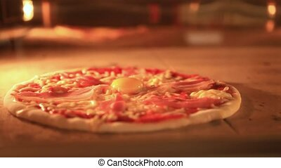 Timelapse speed up of italian pizza baking in traditional oven. Closeup