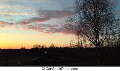 Timelapse spring sunrise in the village