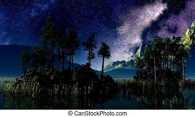 timelapse stars above a lake