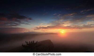 Timelapse sunrise in the mountains