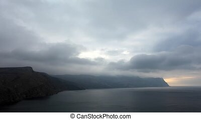Timelapse sunrise in the mountains. Balaklava, Crimea,...