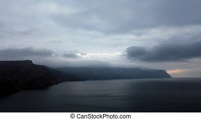 Timelapse sunrise in the mountains. Balaklava, Crimea,...