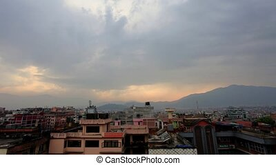 Timelapse sunset in Kathmandu. Nepal, Full HD