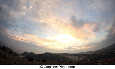 Timelapse sunset in the mountains. Balaklava, Crimea,...