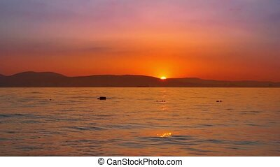 Timelapse sunset on the seascape