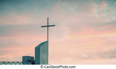 Timelapse sunset over the Catholic Church - Clouds floating...