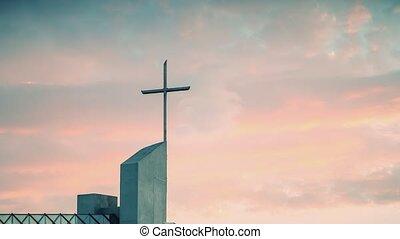 Timelapse sunset over the Catholic Church