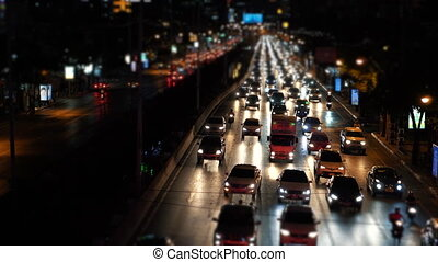 Timelapse traffic jam on the avenue in the evening rush hour, cars congestion