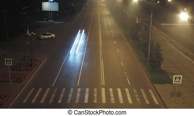 timelapse traffic light streaks at night. Krasnoyarsk,...