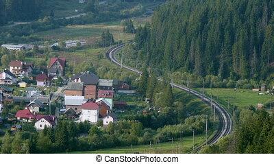 timelapse, train, par, forêt, fret, promenades