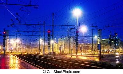 timelapse, train, rome, termini, 4k, pistes, station, chemin...