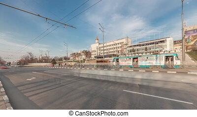 timelapse, tramwaj, skwer, panoramiczny, handel, prospekt, ...