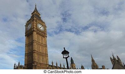 timelapse, van, de big ben, klok, parlement, westminster,...
