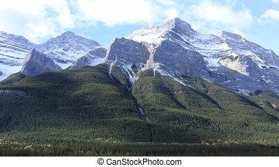 timelapse, van, een, berg overzicht, in, nationaal park banff, canada