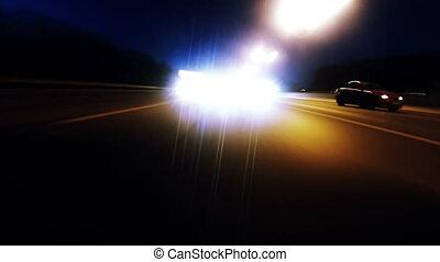 timelapse, velocidade, dirigindo, noturna